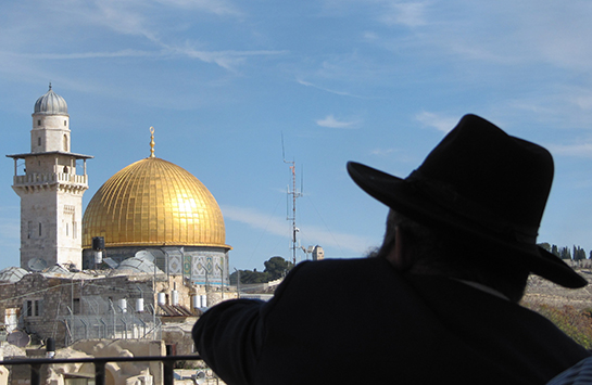 An Orthodox Jewish man looks at the Dome of the Rock